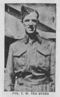 Photo of THEODORE DANIEL WELDON BYERS– From the Loyal Edmonton Regimental magazine the Fortyniner.  Submitted for the project, Operation Picture Me