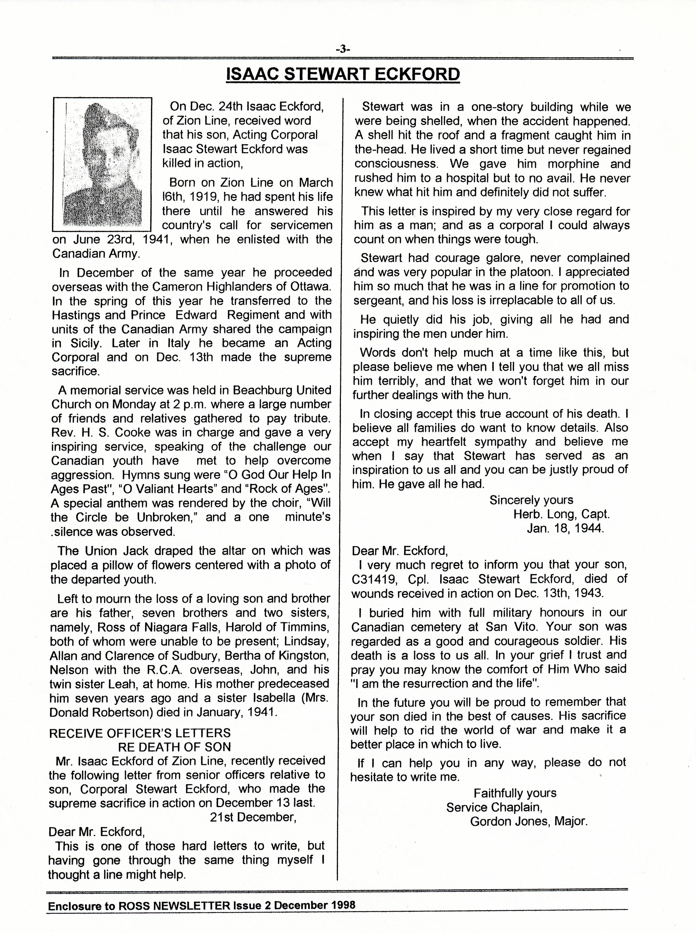 Biography– Information about the death of Isaac Stuart Eckford reprinted in the Ross family newsletter, December 1998.