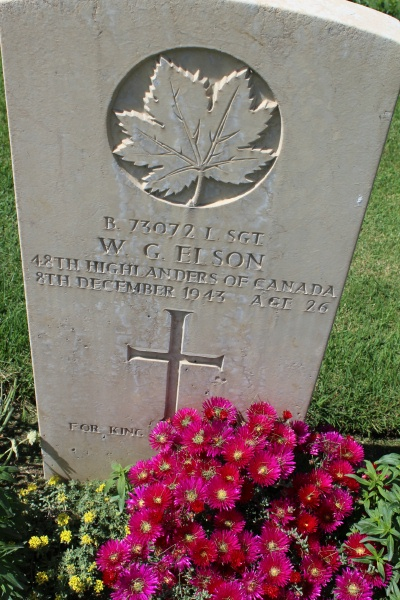 Grave Marker– Grave marker - Moro River Canadian War Cemetery - May 2013