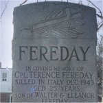 Memorial Headstone– Lance Corporal Terence Fereday is remembered on this memorial marker at St. John's Norway Cemetery, Woodbine Avenue, Toronto, Ontario.