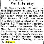Newspaper clipping– Globe and Mail Heritage (online) 1943 Dec 31