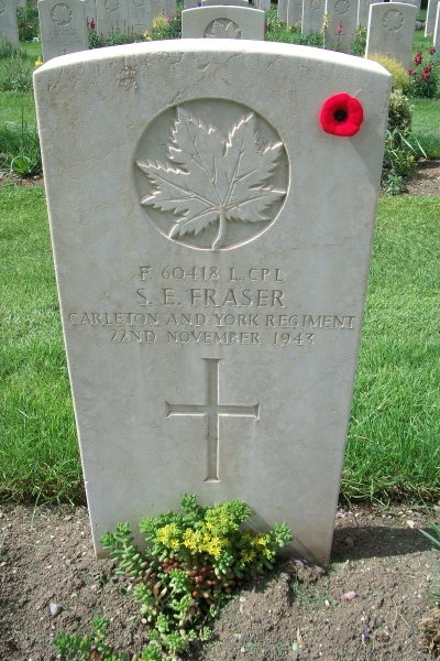 Grave Marker– Moro River Canadian War Cemetery - May 2013 … Photo courtesy of Marg Liessens