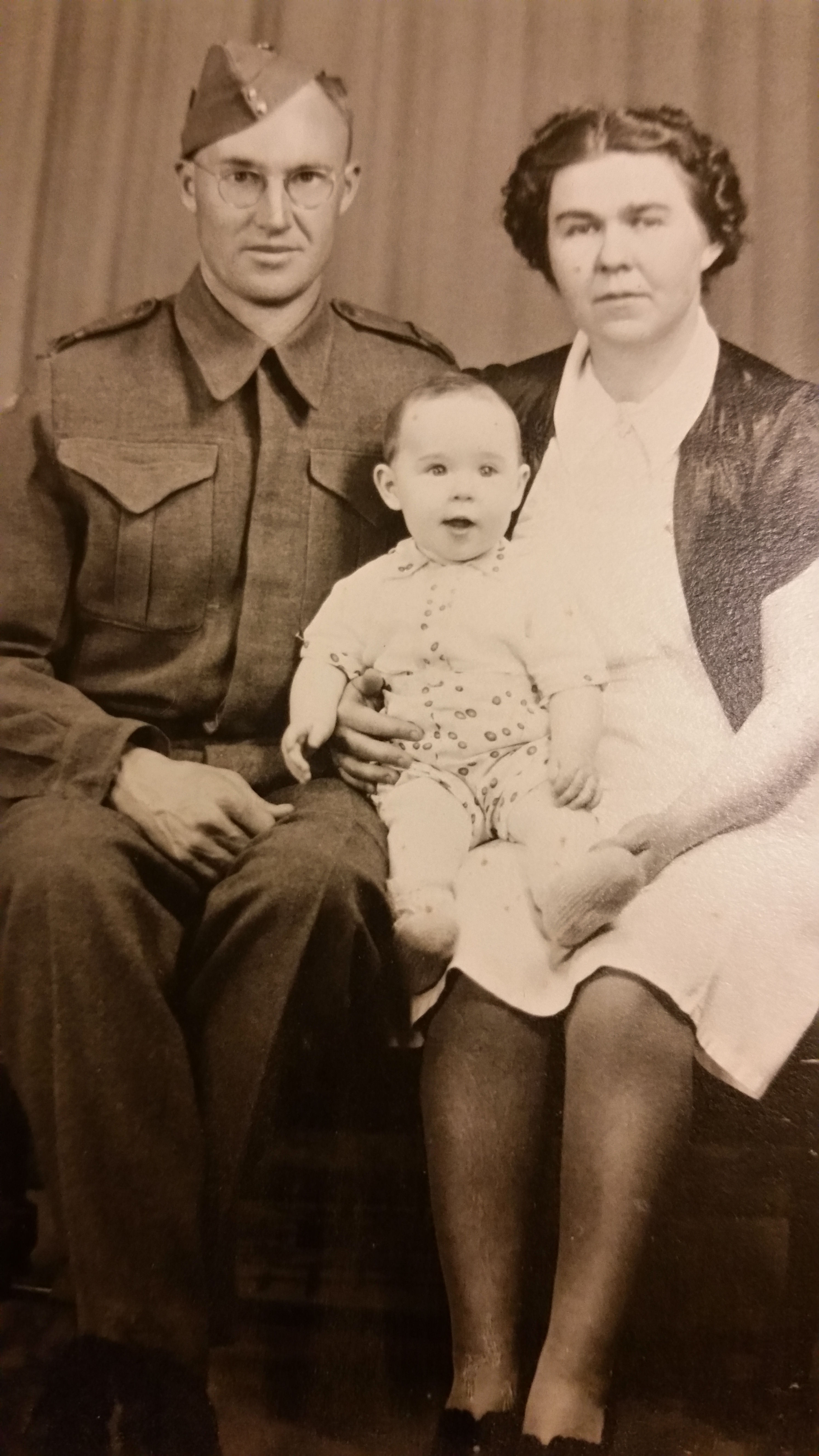 Family photo– Last family photo of Private Richard Boyce Hatt with wife Lydia (Putishkin) Hatt and their only son Alexander William Hatt.  Taken in 1942 shortly before Private Hatt was depoyed.