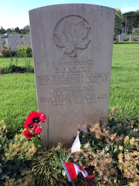 Grave Marker– Edward James Kilcup - Moro River Canadian War Cemetery, Italy
