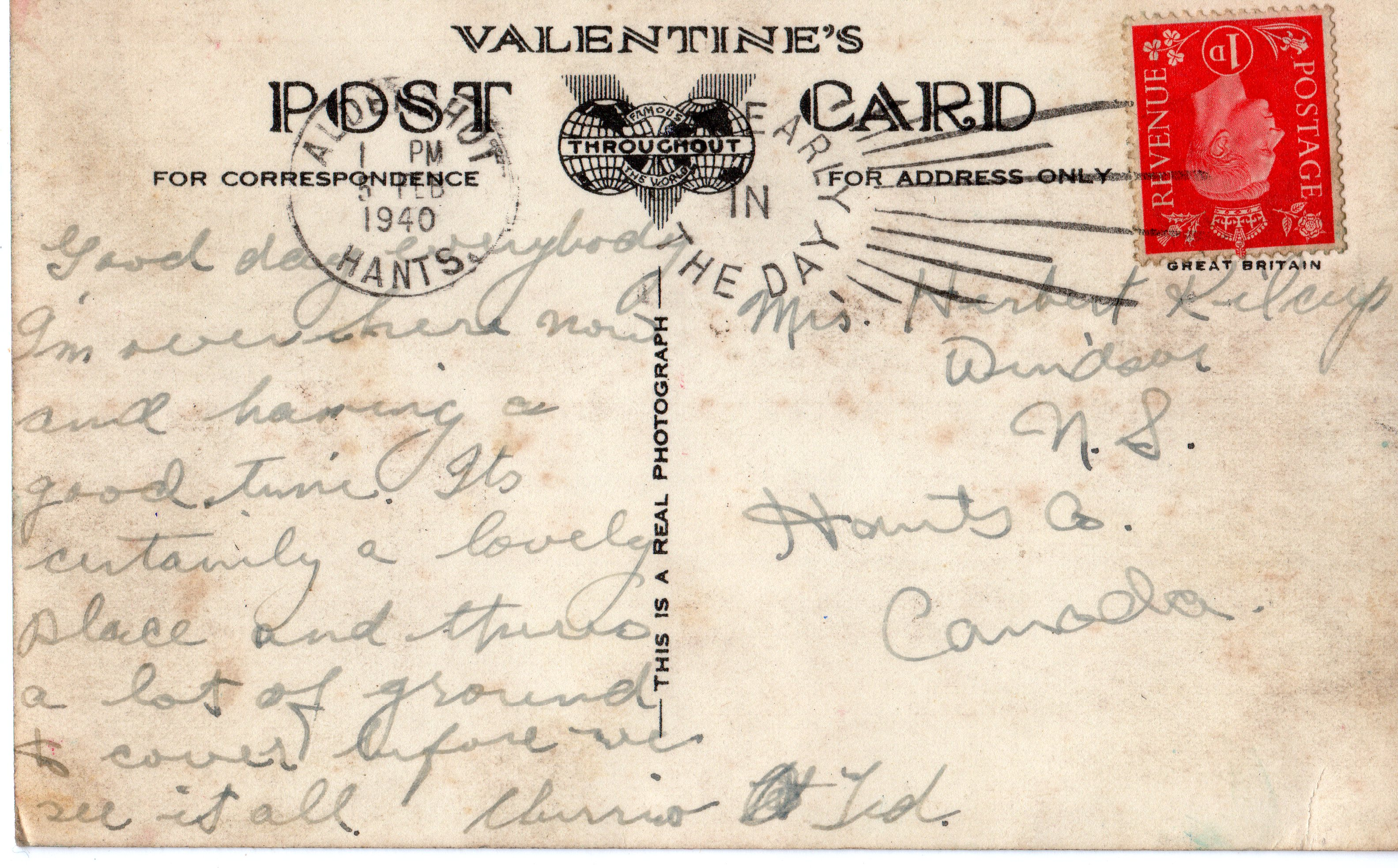 Post Card– February 1940 postcard from England to grandmother.