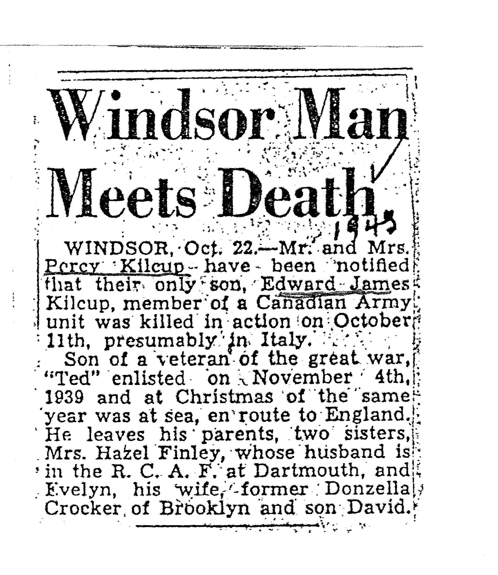 Newspaper clipping– Windsor Man Meets Death - October 22,1940 article