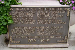 Cenotaph– Private Arthur Sydney King is also commemorated on the cenotaph in Exeter, ON … photo courtesy of Marg Liessens