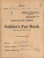 Pay Book– A Canadian Soldier's World War 2 paybook, belonging to Private Laughren. Repatriated to Canada in December 2000.