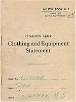 Equipment Book– The Clothing and Equipment Book was carried by all Canadian Soldiers in thier Service Book. This one belonged to Private Laughren and was repatriated to Canada in December 2000.