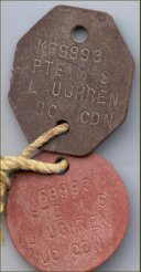 ID Tags– Identification Tags (ID) were commonly called dog tags, and all Canadian Soldiers wore them. These tags belonged to Private Laughren and were repatriated to Canada in December 2000.