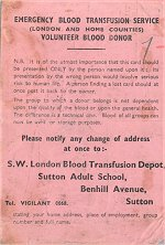 Donor Card– A blood donor card belonging to Private Laughren, it was repatriated to Canada in December 2000.