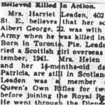 Newspaper Clipping– This obituary was obtained from a microfilm copy of a 1944 Toronto newspaper.