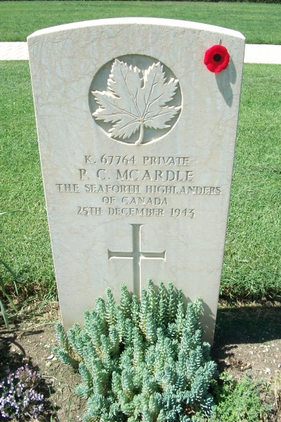 Grave Marker– Grave marker - Moro River Canadian War Cemetery - May 2013 … Photo courtesy of Marg Liessens