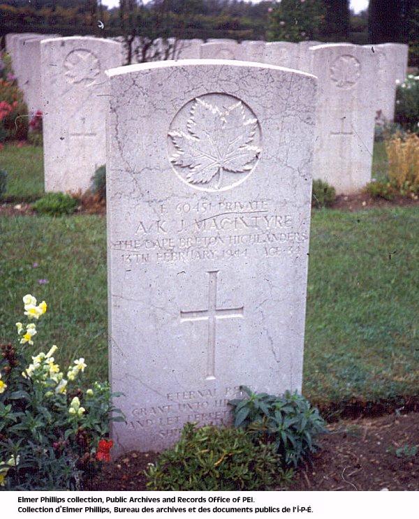 Grave marker for A.K.J. Macintyre