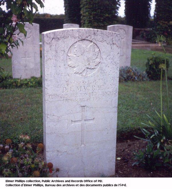 Grave marker for D.E. Macrae