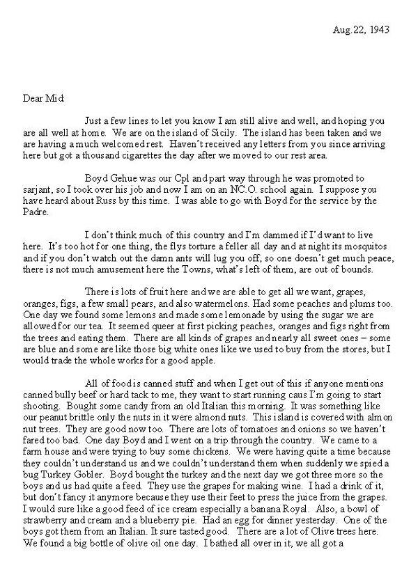 Transcripton of Letter (August 22, 1943)