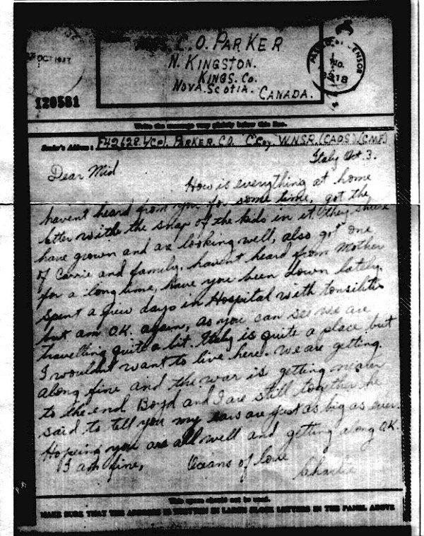 Letter (October 3, 1943)