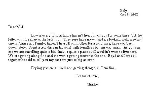Transcripton of Letter (October 3, 1943)