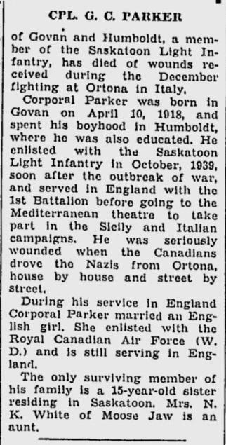 Obituary– Obituary - GORDON CUENEAUDE PARKER
