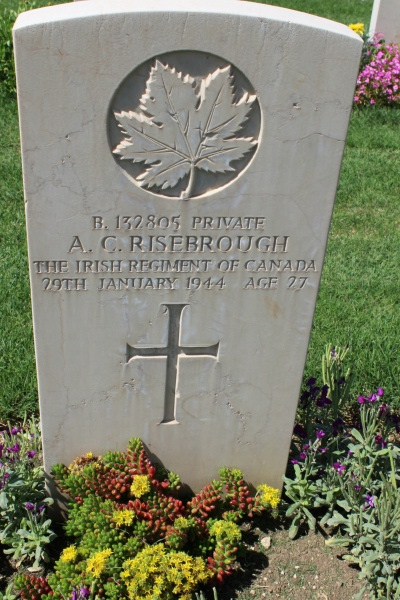 Photo of ARTHUR CURRIE RISEBROUGH– Grave marker - Moro River Canadian War Cemetery - May 2013