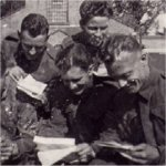 Group photo– Doug Teer's inscription from the back of Photo. From left to Right: Jimmy Murray,  Len Summerfield, Ramish Monroe Mike, Jack Aiken, meee, Alf  Payne