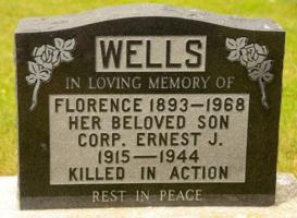 Memorial– Ernest James Wells name inscribed on his mother's headstone in St. John Cemetery, Brock Twp., Durham Region, Ontario. Photo Credit: Roger Shier
