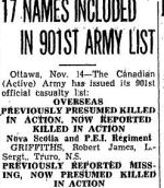 """Newspaper clipping– Toronto Star """"Pages of the Past"""" online 1945 Nov 14 p 24 AIRRESS LAKE is a memorial Geo-naming in Saskatchewan re Pte. Airress."""