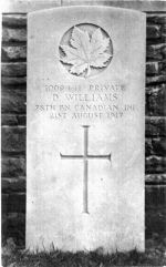 Grave Marker– Photo of David Williams my grandfather's brother. Who was born at Pencoed Uchaf farm, Corwen North Wales. Emigrated to Canada, but was killed in France.