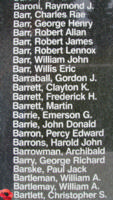 Memorial– Wind Commander Christopher Smales Bartlett is also commemorated on the Bomber Command Memorial Wall in Nanton, AB … photo courtesy of Marg Liessens