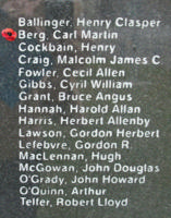 Memorial– Warrant Officer Class II Carl Martin Berg is also commemorated on the Bomber Command Memorial Wall in Nanton, AB … photo courtesy of Marg Liessens