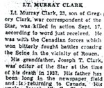 Newspaper clipping– Obituary of Lieutenant Clark from a Toronto paper.