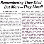 Newspaper Clipping– Greg Clark, MC Vimy Ridge WW2 war correspondent, writes of the lives of the Fallen - including his son Murray.  Source:Toronto Daily Star online archive 'Pages of the Past' search.