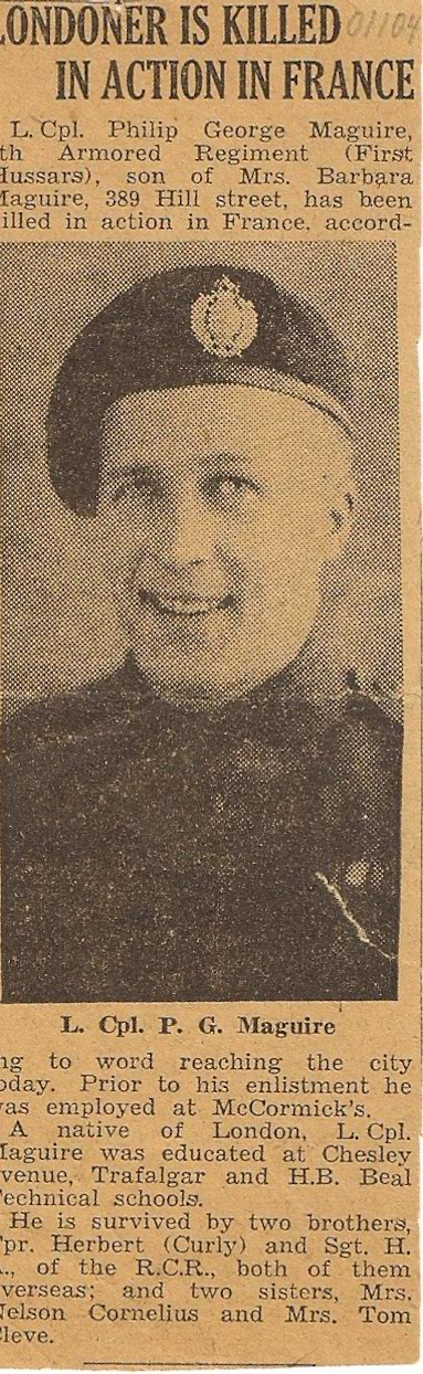 Newspaper Clipping– L. Cpl. P. G. Maguire