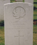 Grave Marker– Headstone of Stanley Patton. Stanley had originally enlisted with the Grey and Simcoe Foresters in Sault Ste. Marie. Image provided by Padre Phil Miller, RCL, Branch 25, Sault Ste. Marie. We Will Remember Them.