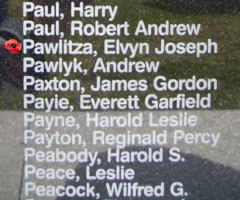 Memorial– Flying Officer Elwyn Joseph Pawlitza is also commemorated on the Bomber Command Memorial Wall in Nanton, AB … photo courtesy of Marg Liessens