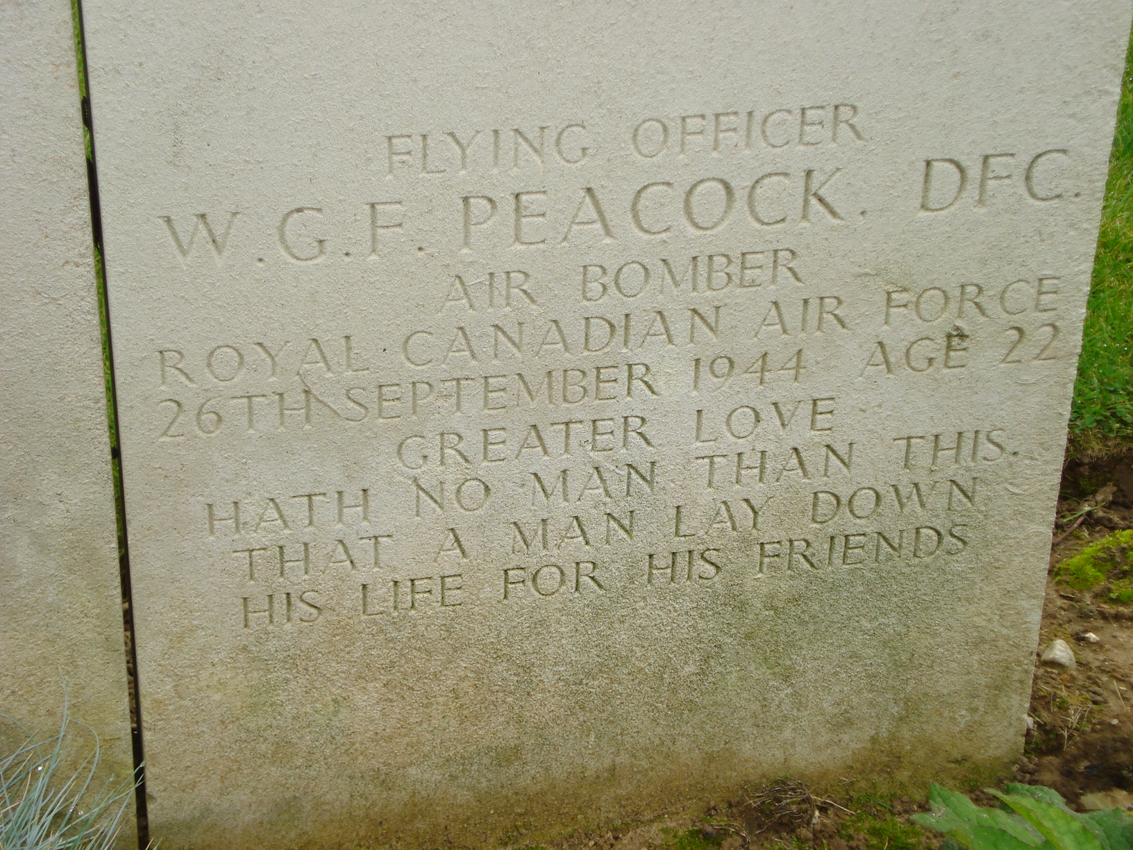 Inscription– Photo taken in October 2007 while visiting the cemetery with my father (Warren Grant) who was a first cousin and boyhhood friend of Wilfred Peacock.