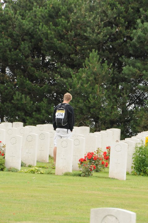 Paying respects– First cousin twice removed Mitchell O'Donnell. visiting while in France participating in the World Youth Track and Field Championships.  Mitch's grandfather William Patrick O'Donnell was raised by the Peacocks, and considered Wilfred as a brother
