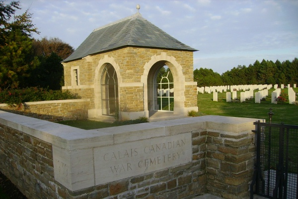Cemetery– Entrance - Calais Canadian War Cemetery … photo courtesy of Marg Liessens