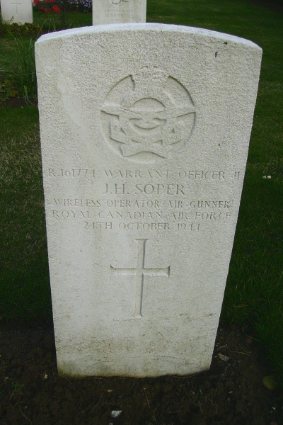 Grave Marker– Grave marker - Calais Canadian War Cemetery … photo courtesy of Marg Liessens