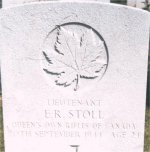 Grave Marker– This photo of Lt Stoll's grave at Calais Cemetery was taken by Craig Cameron while on a trip to France in June, 1997.