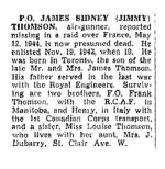 Newspaper Clipping– The Toronto Star, February 14, 1945, page 9
