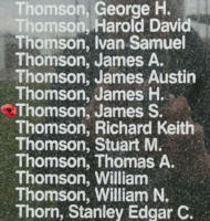 Memorial– Pilot Officer James Sydney Thomson is also commemorated on the Bomber Command Memorial Wall in Nanton, AB … photo courtesy of Marg Liessens