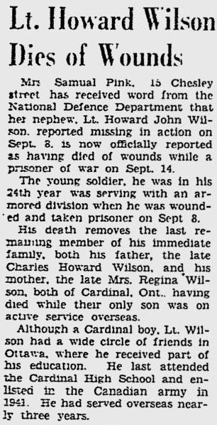 Newspaper Clipping– Lt. Howard Wilson Dies of Wounds Ottawa Citizen - September 27, 1944