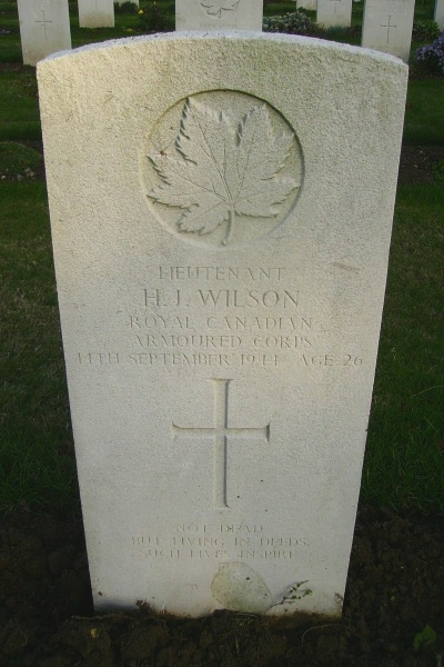 Grave Marker– Grave marker - Calais Canadian War Cemetery … photo courtesy of Marg Liessens
