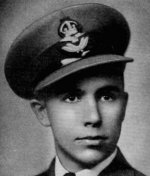 Photo of Ramsay Habkirk– Habkirk, Ramsay MacKenzie - Flying Officer. Born 4th January, 1922, at Wingham, Ont. Educated at Wingham Public and High Schools. Entered the service of the Bank 2nd July, 1940. Served at Wingham. Enlisted 7th March, 1942, from that branch in R.C.A.F. Pilot Officer in August, 1943; Flying Officer in February, 1944. Trained at Toronto, and St. Johns, Que. Overseas in August, 1943.  Reported (10th August, 1944) missing after air operations. Officially presumed dead 24th September, 1945.  From a memorial booklet prepared by the Canadian Bank of Commerce.