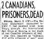Newspaper Clipping– Source:  Globe and Mail, March 6, 1942