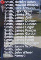 Memorial– Sergeant Herbert Blatch Smith is commemorated on the Bomber Command Memorial Wall in Nanton, AB … photo courtesy of Marg Liessens