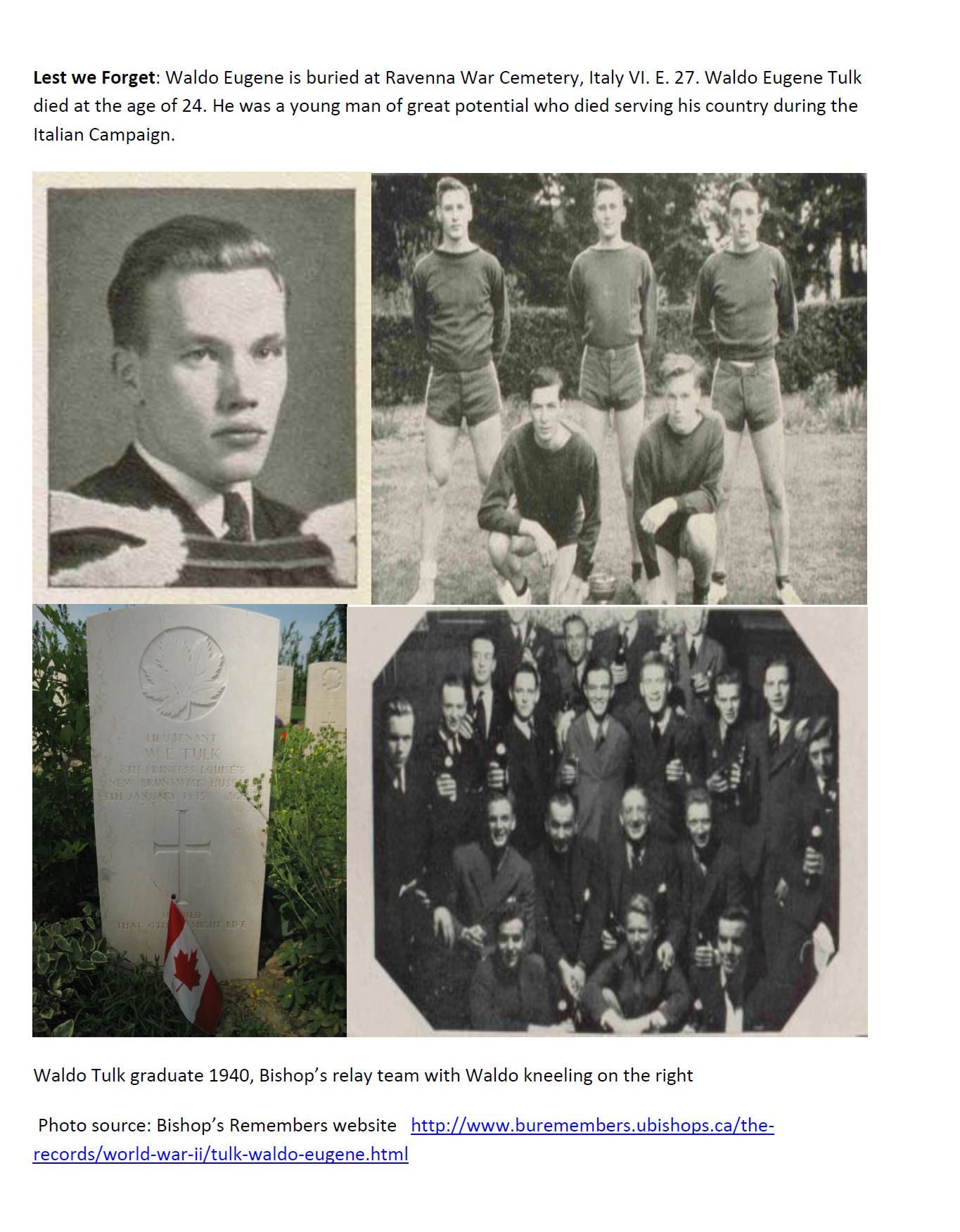 Essay (Page 4)– In 2015, the grade 11 Modern History students at Belleisle Regional High School continued to write biographies for soldiers from the local area who died during the First and Second World Wars.