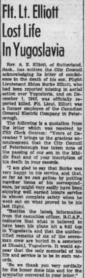 Newspaper clipping– Peterborough Examiner - Monday January 17, Page 9