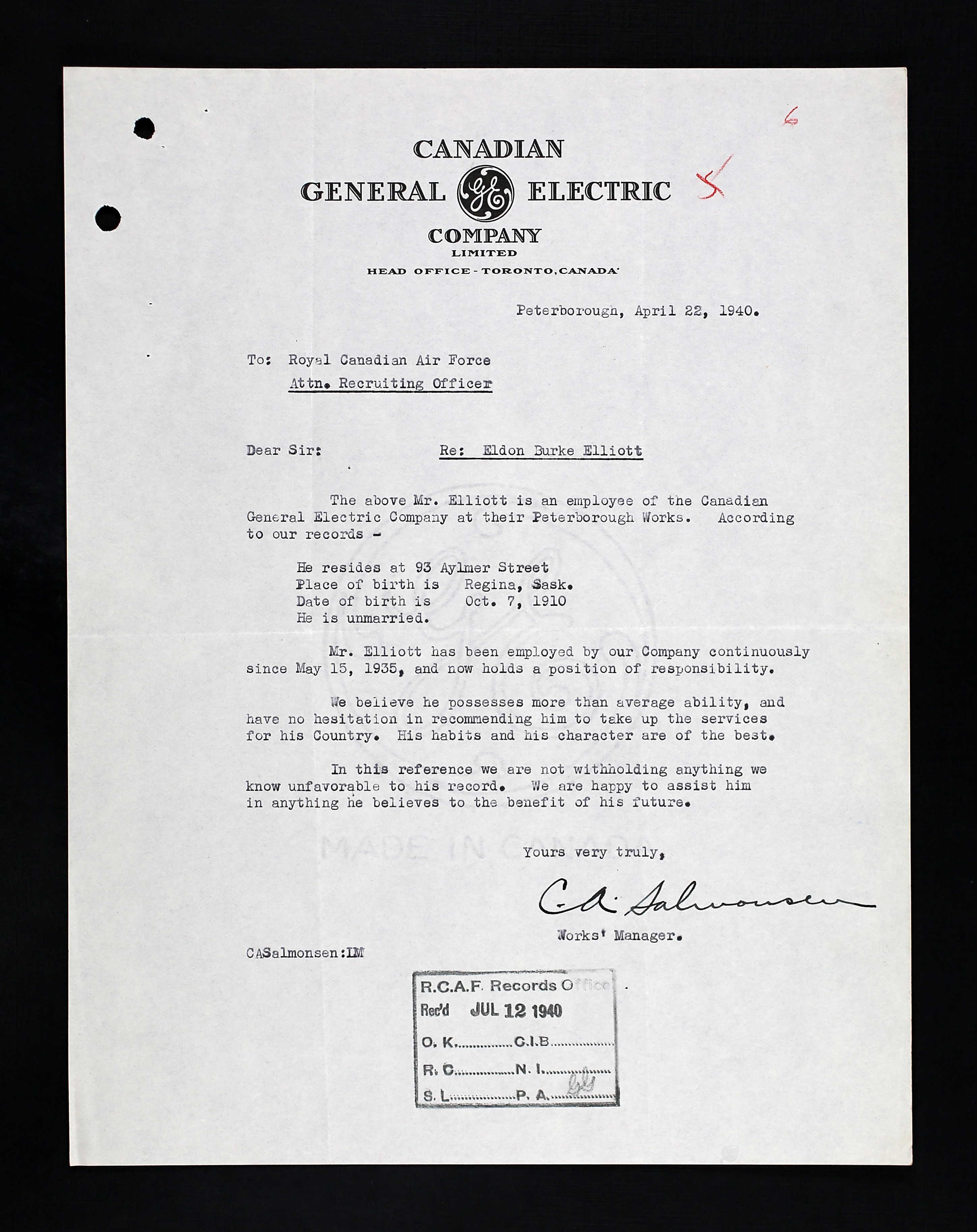 Letter– Proof of Employment Letter and recommendation for Eldon Burke during his enlistment